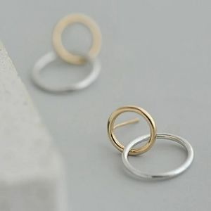 925 STERLING SILVER PLATE TWO TONE CIRCLE EARRINGS